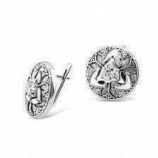 Серебряные серьги Сусанна с фианитами и чернением