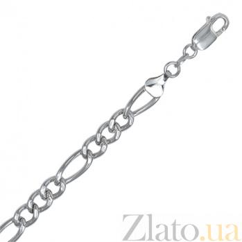 Серебряный браслет Сарагоса с родированием, 6 мм, 23 см 000027657
