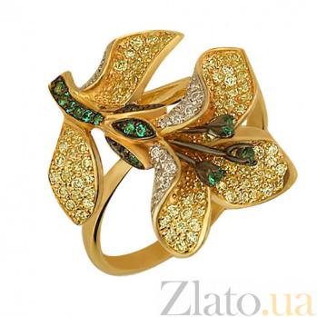 Кольцо из желтого золота Лилия с фианитами VLT--ТТ1052-1