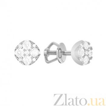 Золотые серьги с бриллиантами Сирена KBL--С2603/бел/брил