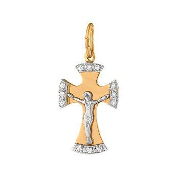 Золотой крестик Красота веры с фианитами 000071536