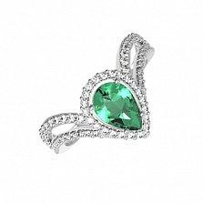 Серебряное кольцо Катарина с зеленым кварцем и фианитами