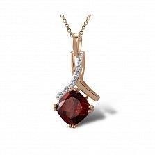 Кулон из красного золота Адрианна с бриллиантами и гранатом