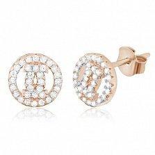 Серебряные сережки с цирконием Шанель