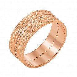 Золотое обручальное кольцо Александра в красном цвете с алмазной гранью и дорожкой бриллиантов
