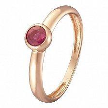 Кольцо в красном золоте Анастасия с завальцованным рубином