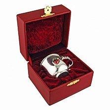 Детская серебряная кружка Мишка с малиной с цветной эмалью