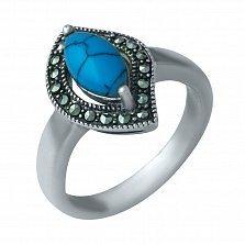 Серебряное кольцо Афина с бирюзой и марказитом