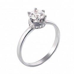 Помолвочное кольцо в белом золоте Мальта с кристаллами Swarovski