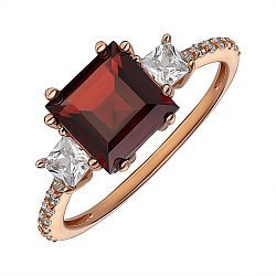 Кольцо из красного золота с гранатом и фианитами 000141461