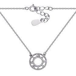 Серебряное колье Часы в стиле Тиффани с фианитами 000127928