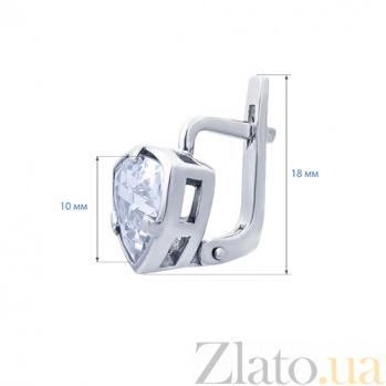 Серьги серебряные с белым цирконом Лилит  AQA--72072б