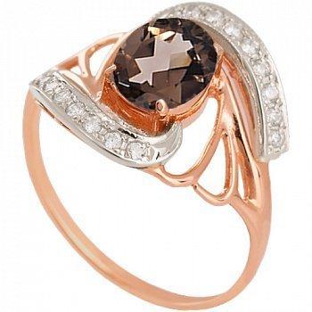 Золотое кольцо с раухтопазом и фианитами Вивиана 000030791