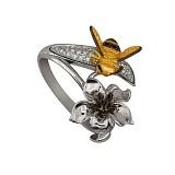 Кольцо из белого и желтого золота Нектар с фианитами