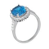 Серебряное кольцо с голубым цирконием Лоури