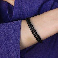Черный многослойный кожаный браслет Тиронд с серебряным замком, 4мм