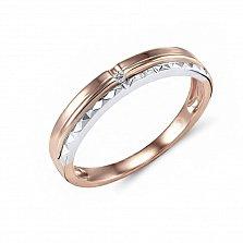 Обручальное кольцо Эвита из красного и белого золота с бриллиантом