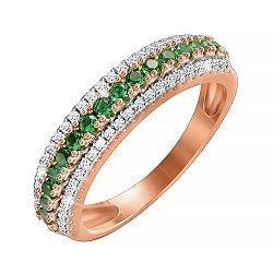Серебряное кольцо с позолотой и фианитами 000052271