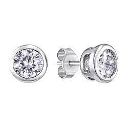 Серебряные серьги-пуссеты с фианитами 000129366