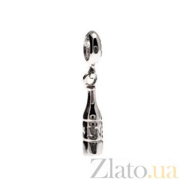 """Серебряная бусина с подвеской """"Бутылка"""" AQA-231510040"""