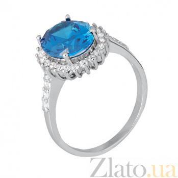 Серебряное кольцо с голубым цирконием Лоури SLX--КК2ФЛТ/377