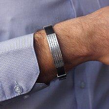 Каучуковый браслет Отче Наш с серебряными вставками и золотыми накладками
