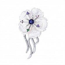 Серебряная брошка Цветок жасмина с белым перламутром и разноцветными фианитами