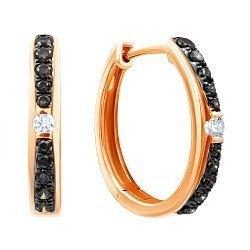 Золотые серьги в комбинированном цвете с коньячными и белыми бриллиантами 000139429