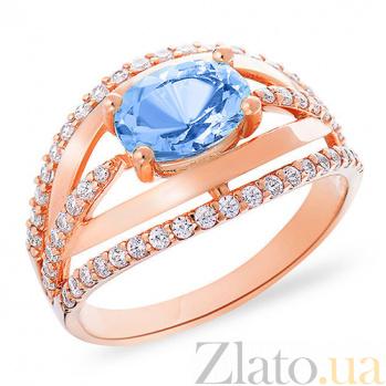 Золотое кольцо с голубым топазом и цирконием Маригольд SUF--151292