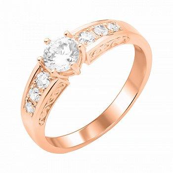Кольцо из красного золота с фианитами 000103792