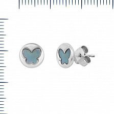 Серьги-пуссеты Летняя сказка с голубыми перламутровыми бабочками