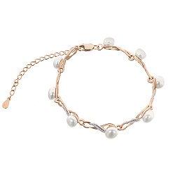 Серебряный браслет Анастасия с жемчугом и позолотой 000033782