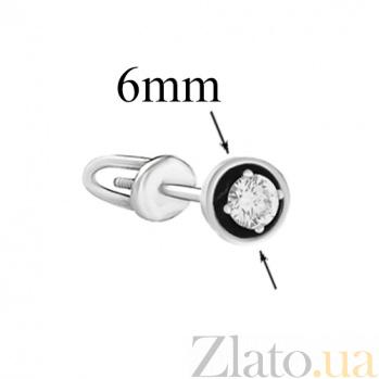 Золотые пуссеты в белом цвете с бриллиантами и чёрной эмалью Гликерия SVA--2190391202/Бриллиант