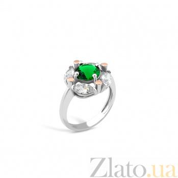 Серебряное кольцо Агнесса с золотыми накладками, зеленым алпанитом и фианитами 000082134