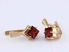 Сережки из красного золота с гранатами Галата