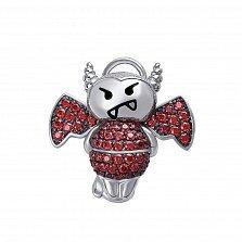 Серебряный кулон Влюбленный чертик с красными кристаллами циркония