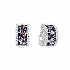 Серебряные серьги Веточки с темно-синей и красной эмалью и фианитами