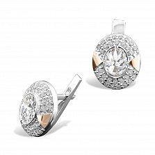 Серебряные серьги Сальвия с золотыми накладками и фианитами