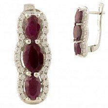 Серебряные серьги Розана с рубином и фианитами