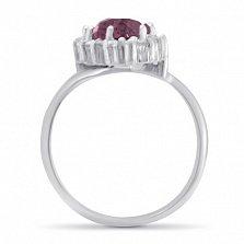 Перстень Снежная королева в белом золоте с синтезированным аметистом, фианитами и узорной шинкой