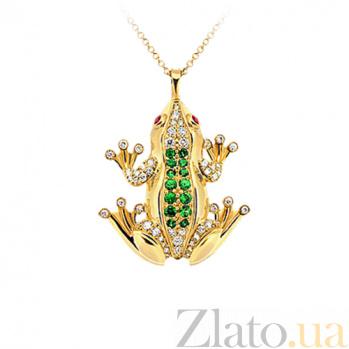 Золотое колье с цаворитами, сапфирами и бриллиантами Чудо Бытия 000029590