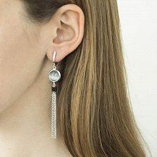 Серебряные серьги-подвески Туманный Альбион с завальцованными улекситами и кисточками-цепочками