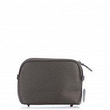 Кожаный клатч Genuine Leather 1408 серого цвета с бантом и металлическими ножками
