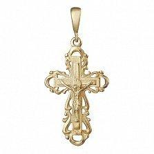 Серебряный крестик Энергия любви с позолотой