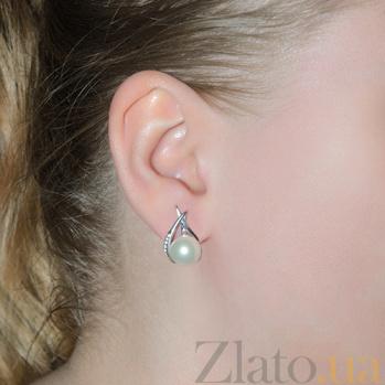 Серебряные серьги Инна с белым жемчугом 2250/9р б жем