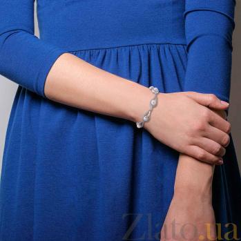 Серебряный браслет с золотом Дарьяна с жемчугом и фианитами AQA--163Б-6