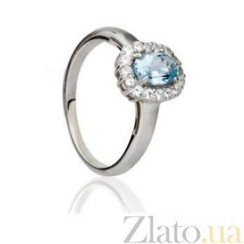 Серебряное кольцо с голубым топазом и цирконием Ингрид 000030665