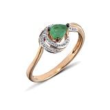 Кольцо из красного золота Джоан с бриллиантами и изумрудом