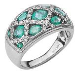 Золотое кольцо Прайм с изумрудами и бриллиантами