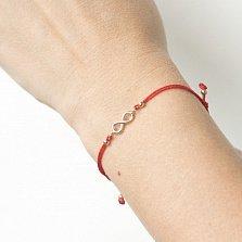 Золотой браслет с красной нитью Символ вечности